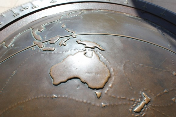 Globe world earth map Australia JetSetting Fools