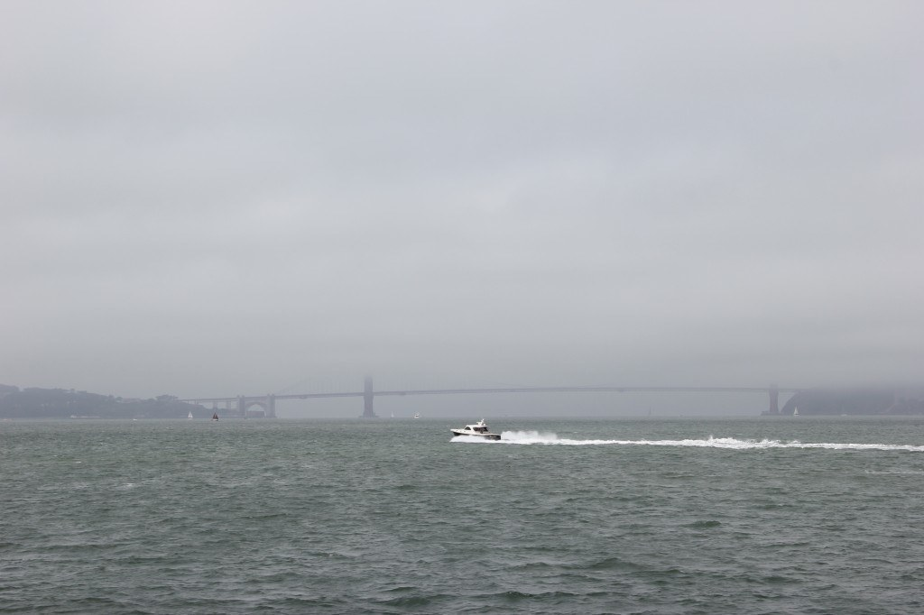 Golden Gate Bridge from Ferry Boat on a foggy July day