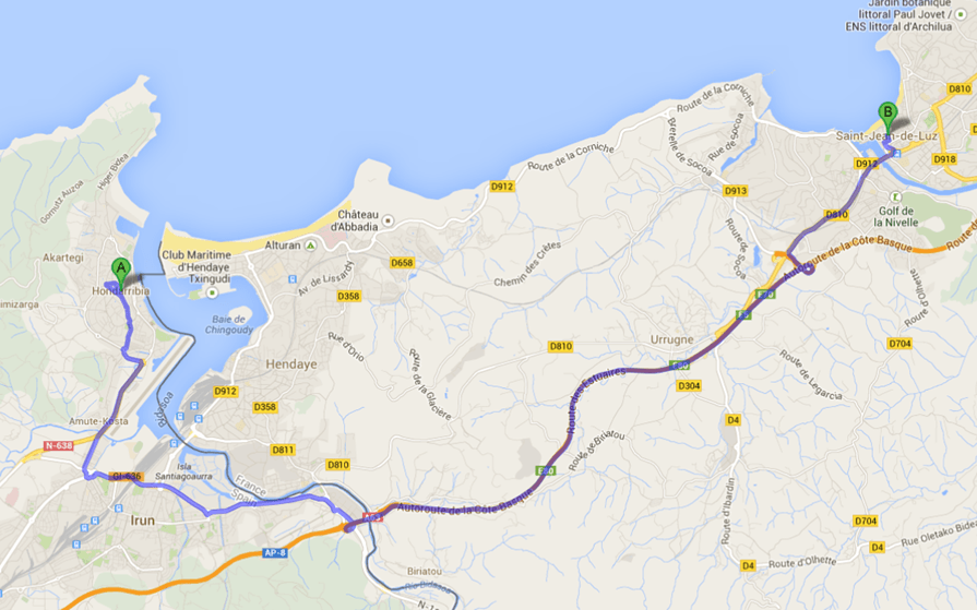 Getting fromHondarribia to St. Jean de Luz map