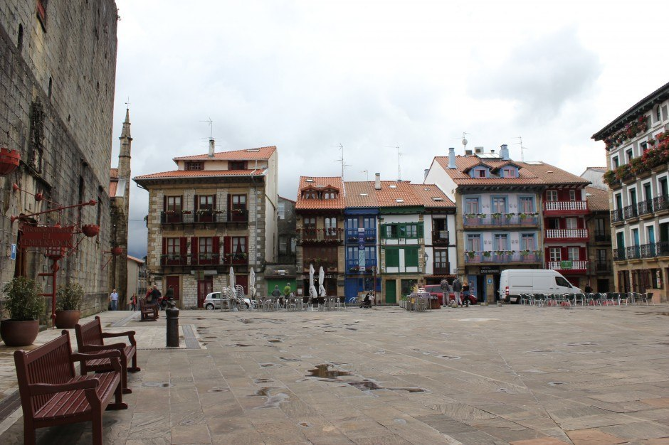 The upper town Main Square in Hondarribia, Spain