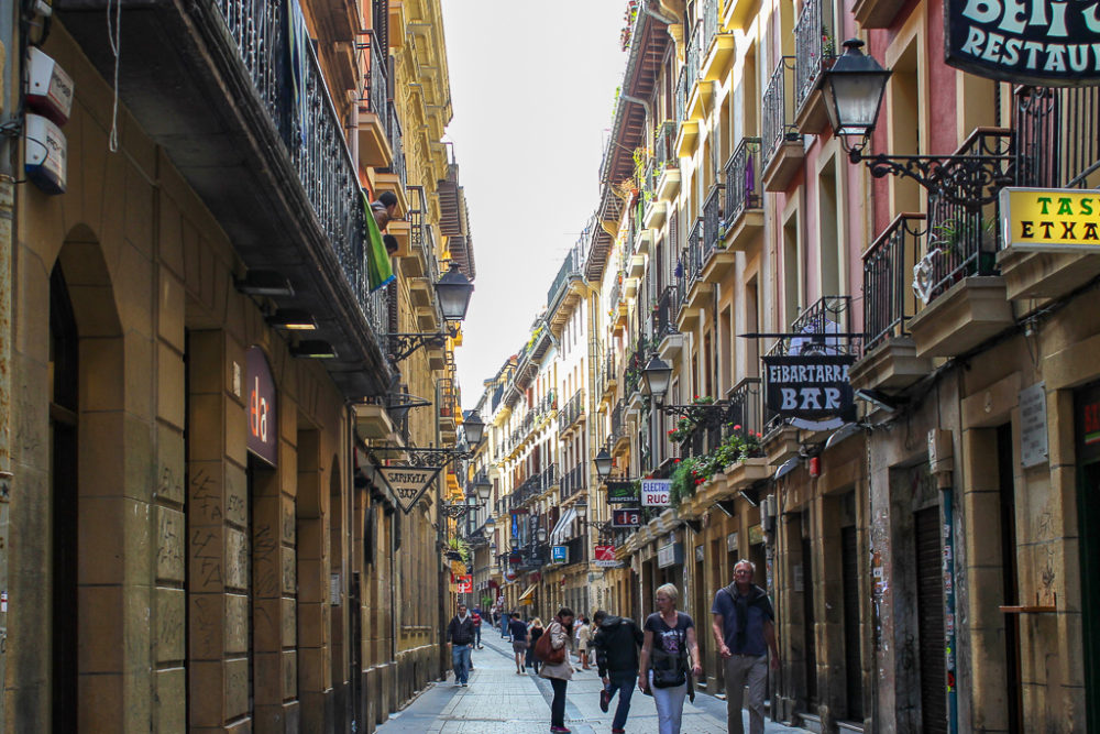 Street in Old Town San Sebastian, Spain
