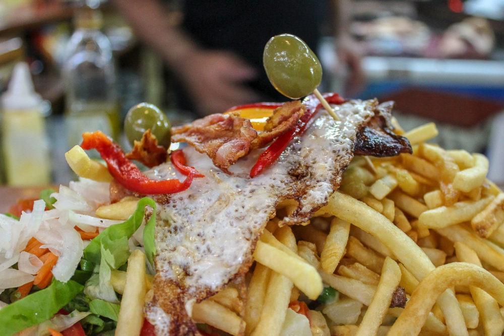 A Chivito Sandwich in Montevideo, Uruguay