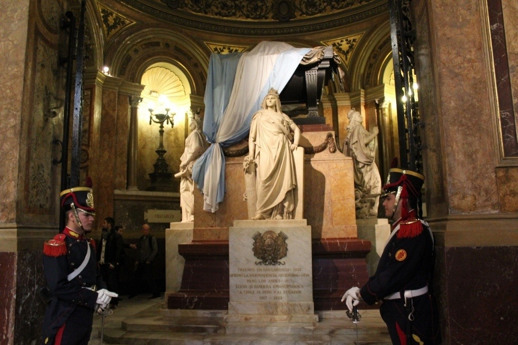 One-day itinerary for Buenos Aires: Tomb of Jose de San Marin, Argentina's Liberator - guarded by Soldiers of the Grenadier Regiment