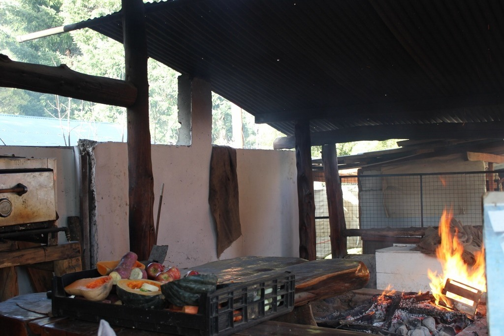 Colonia Suiza in Bariloche - The curantos: The veggies are prepared and the fire started!