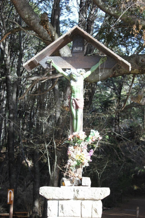 The 'Green Jesus' Trail Marker at Parque Municipal Llao-Llao in Bariloche, Argentina