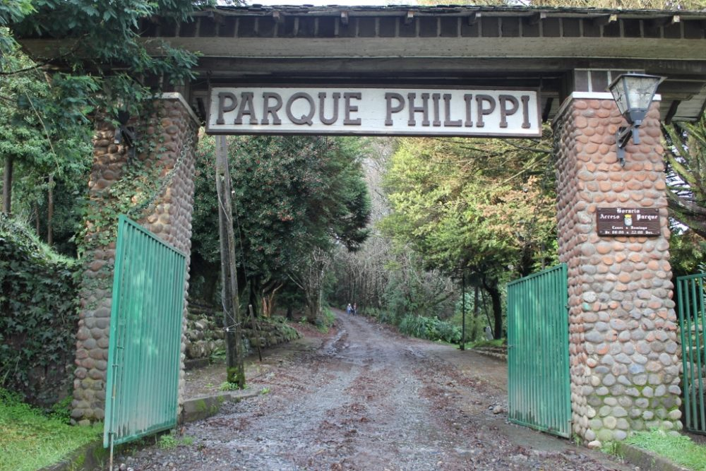 Hiking path entrance to Parque Philippi in Puerto Varas Chile