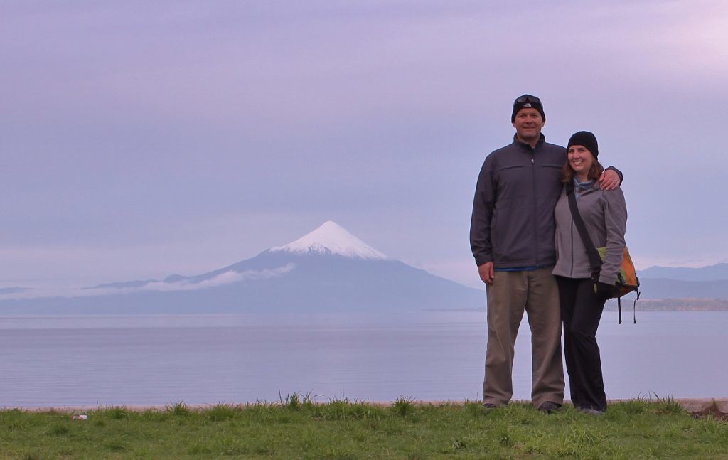Kris and Sarah in front of Volcano Orsono in Puerto Varas, Chile