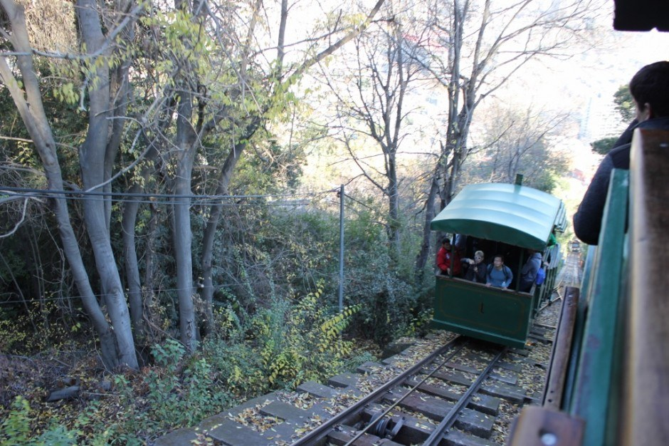 Funicular to the top of Cerro San Cristobal in Santiago