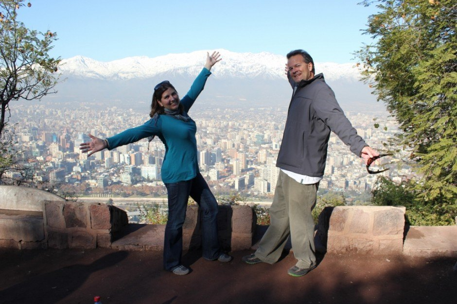 Sarah and Kris, Jetsetting Fools, at the top of Cerro San Cristobal in Santiago