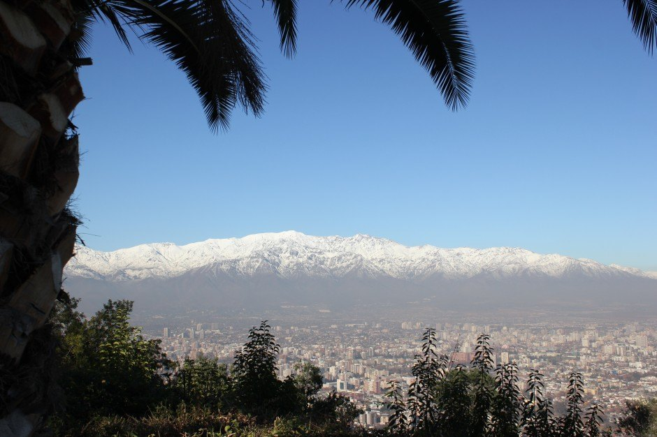 View of snowcapped mountains from the top of Cerro San Cristobal in Santiago
