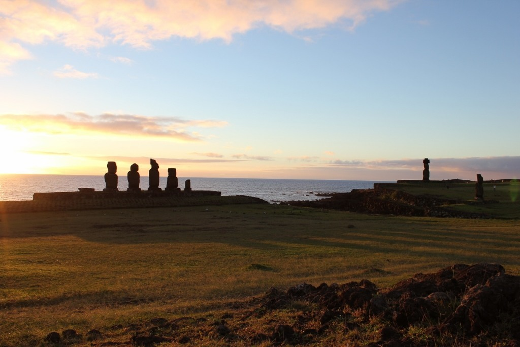 Sunsets on Easter Island at Tahai; waiting for sunset