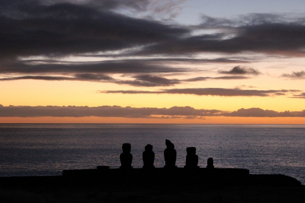 Sunsets on Easter Island at Tahai; A spectacular first sunset on Easter Isalnd