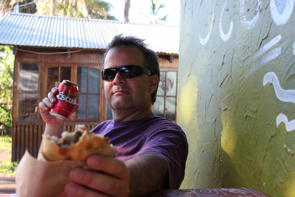 After hiking Easter Island: Empanadas and beer