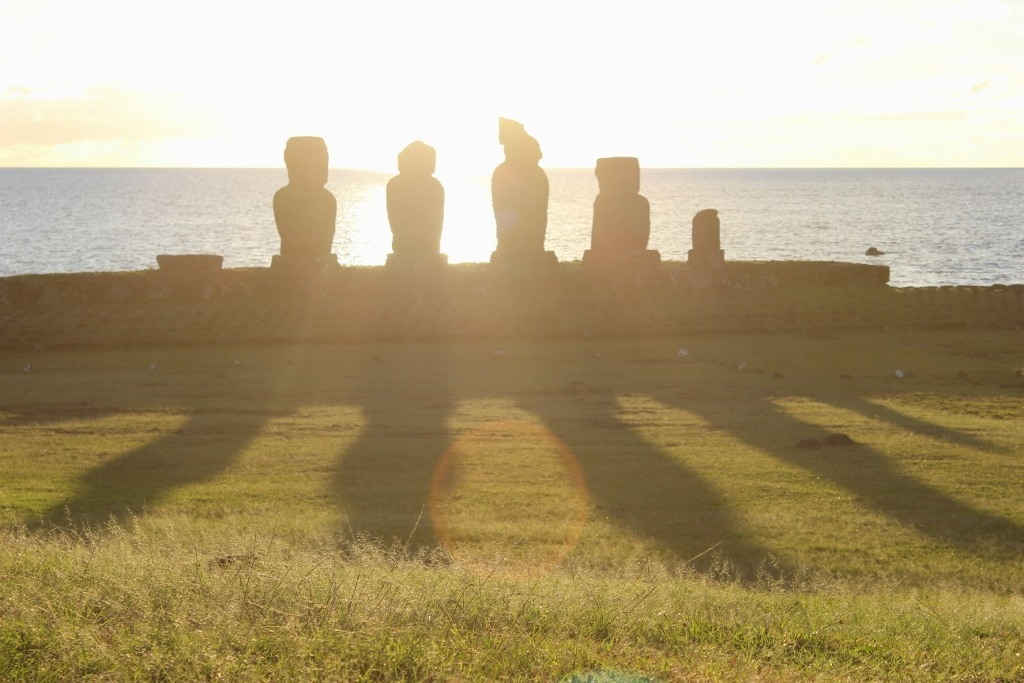 Sunsets on Easter Island at Tahai; Long shadows as the sun begins to set