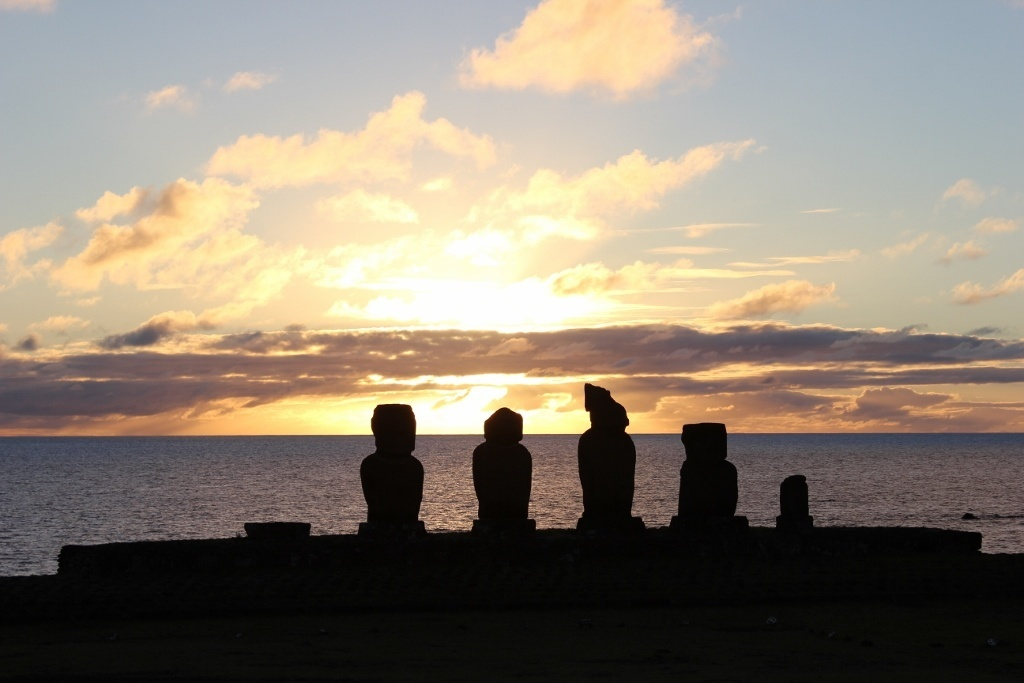 Sunsets on Easter Island at Tahai
