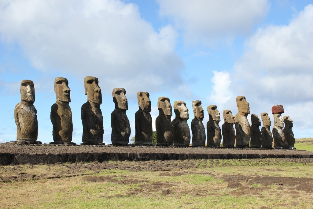 Tongariki is the largest ceremonial platform on Easter Island