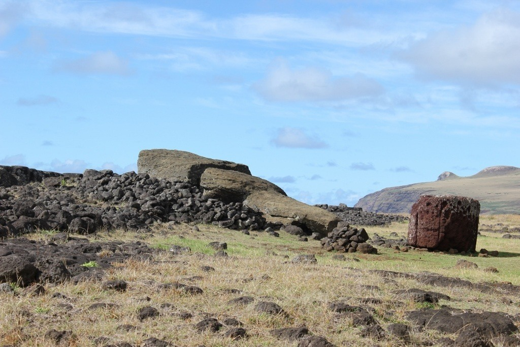 Te Pito Kura and Paro, the largest moai to ever stand on Easter Island
