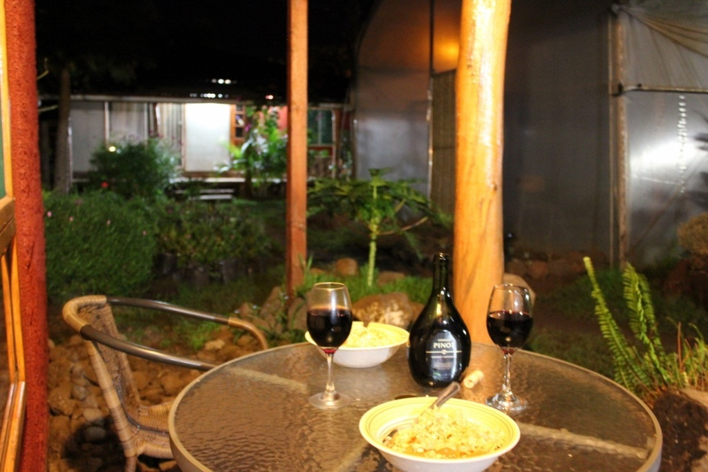 Budget Island Accommodations: Easter Island, Dinner on our patio at Keu Henua Cabanas