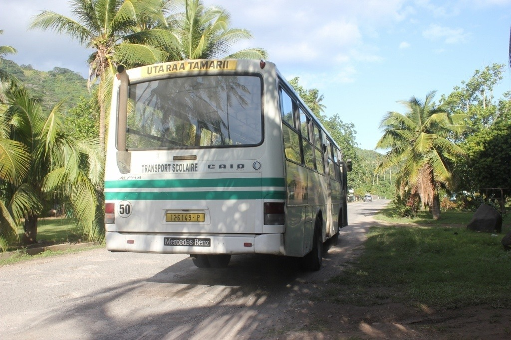 One of the few buses on Moorea, French Polynesia