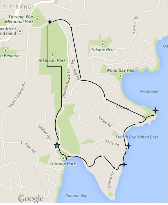 Hiking paths of Titirangi Beach: From our home (marked with the star), we did a looping hike to Titirangi Beach Park, a private beach, French Bay, a lookout point and then took Zigzag Track back home.