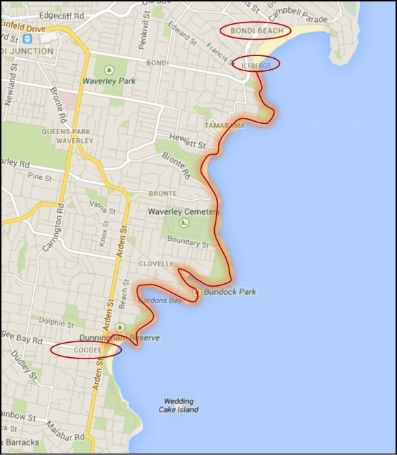 Bondi to Coogee Coastal Walk Map