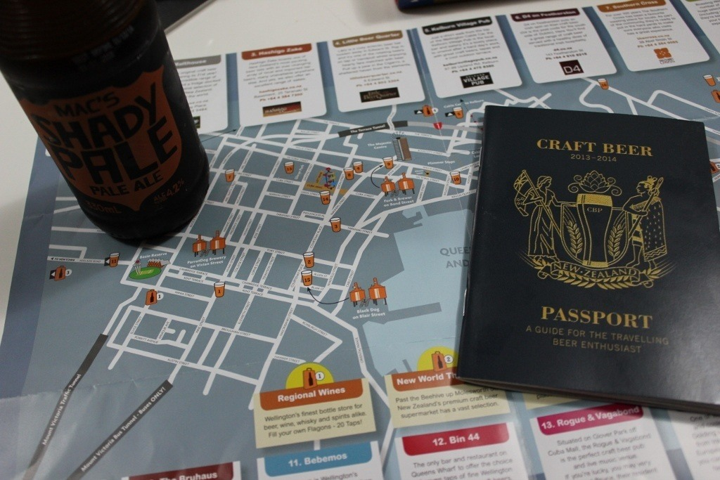 craft beer in Wellington, New Zealand map and 'passport'