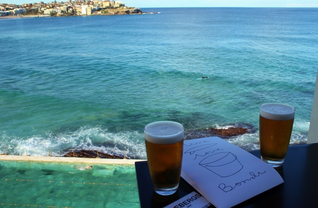 Travel budget for three months: Beers on Bondi's Icebergs balcony overlooking the lap pool, the sea and beyond is NOT a budget stop!
