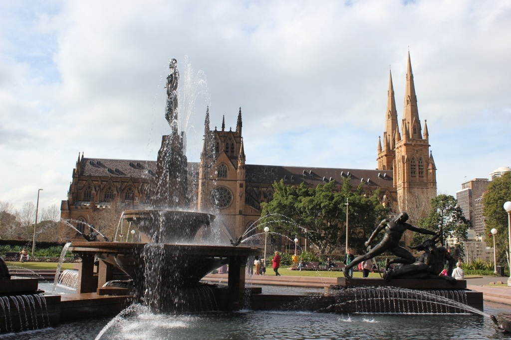 One day itinerary for Sydney: The Archibald Fountain in Hyde Park with St. Mary's Cathedral in the background