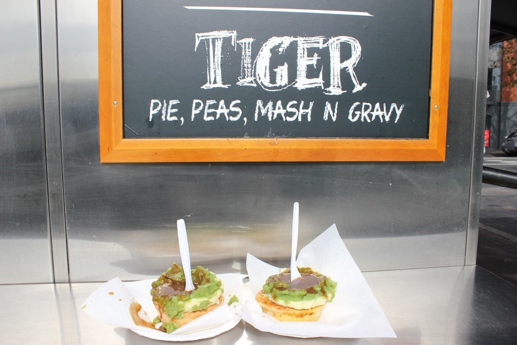 One day itinerary for Sydney: Our beef and curry chicken pies covered in peas, mash and gravy
