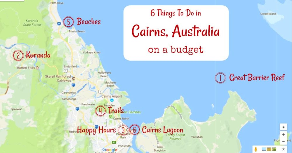 Cairns Tourist Map of Things To Do in Cairns, Australia on a budget by JetSettingFools.com