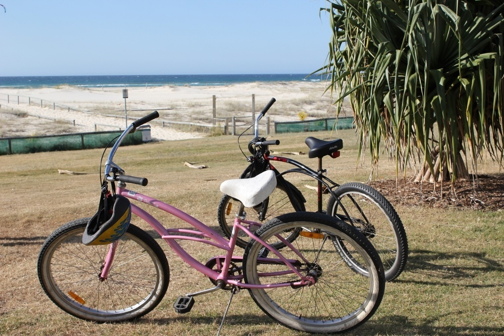 Staying at a beach resort: The bike path stretches for miles in both directions from the Beachcomber Resort making it easy to get around - and the bikes are free to use!