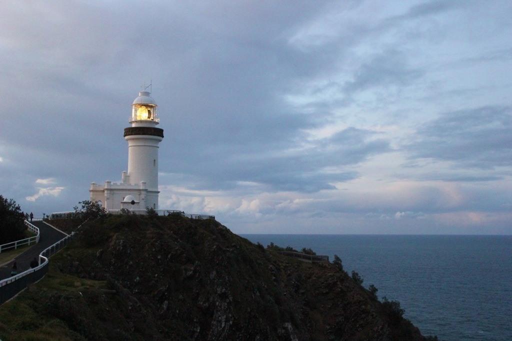 Cape Byron Lighthouse at dusk in Byron Bay, Australia