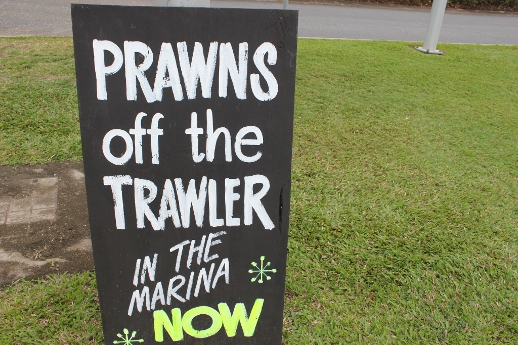 Aussie Slang: Prawns off the trawler is Australian for Shrimp off the boat.