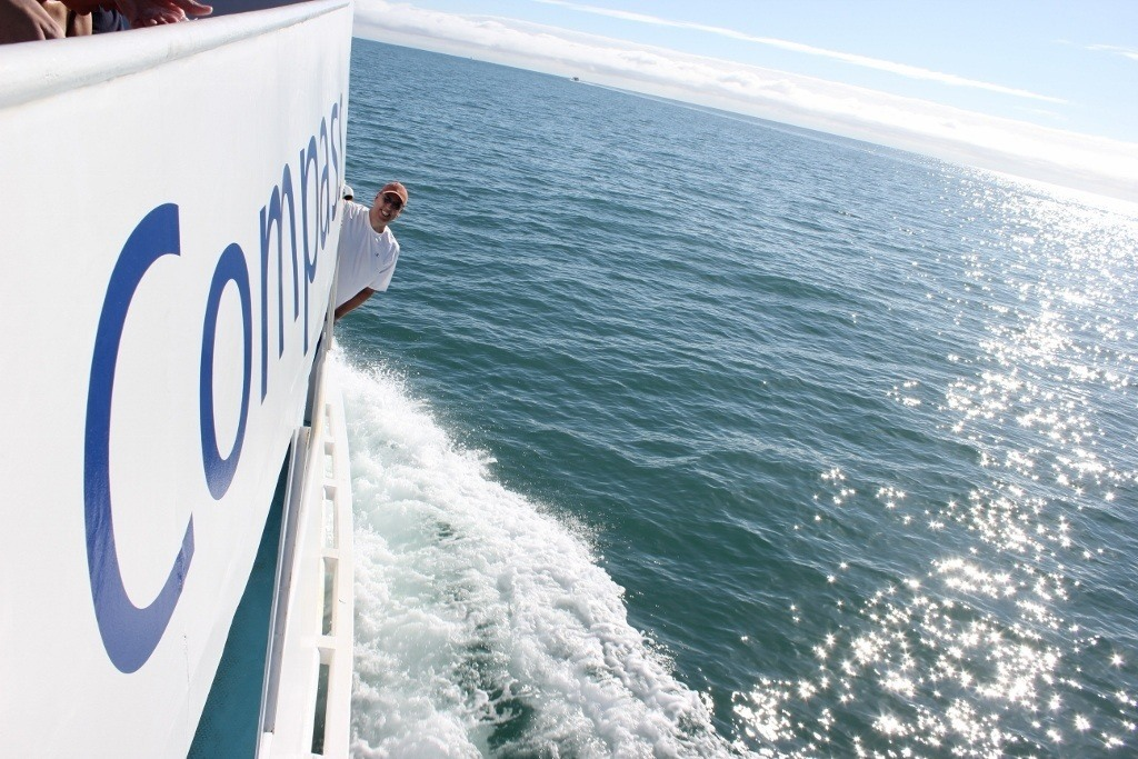 Riding boat on Cairns reef tour