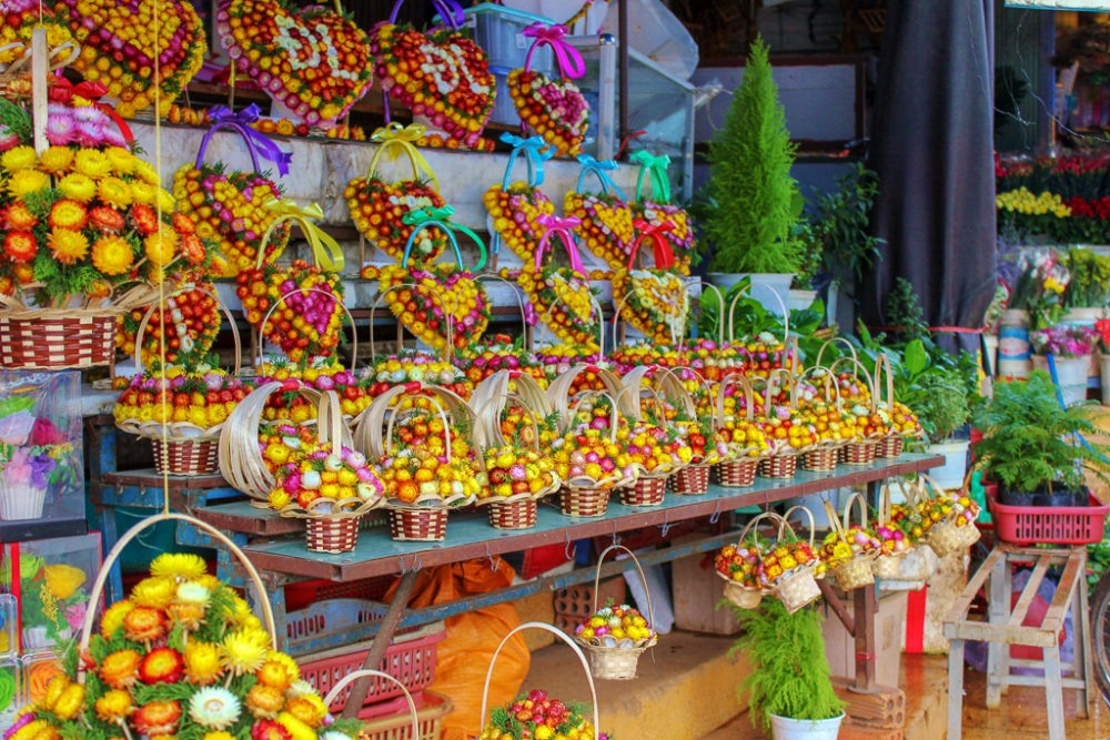 Colorful flower displays at Market in Dalat, Vietnam