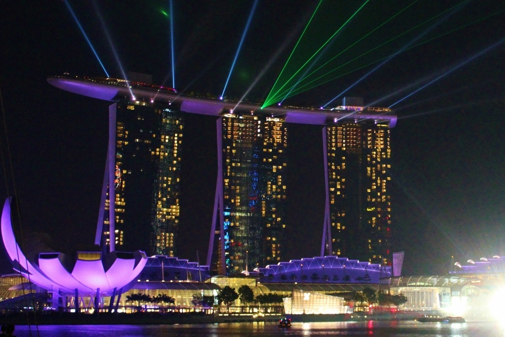Singapore Marina Bay self-guided walking tour: The light and water show at the Marina Bay Sands Hotel