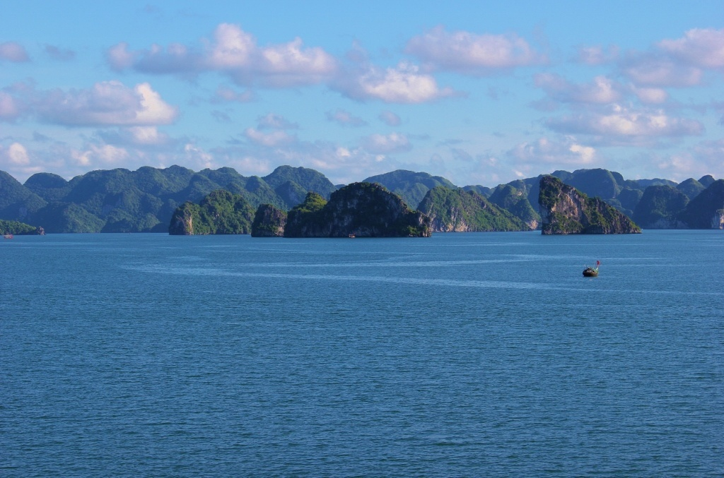 Halong Bay cruise: The sun started to set as we swam in the water