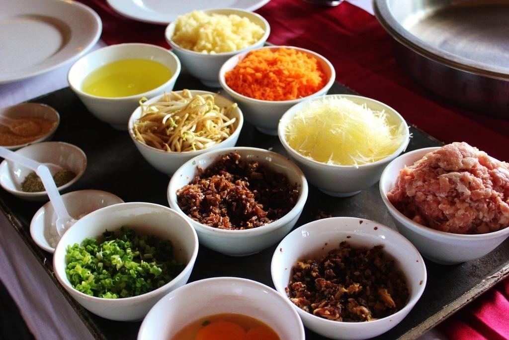 Cruising Halong Bay, Vietnam: Cooking demonstration - Vietnamese spring rolls