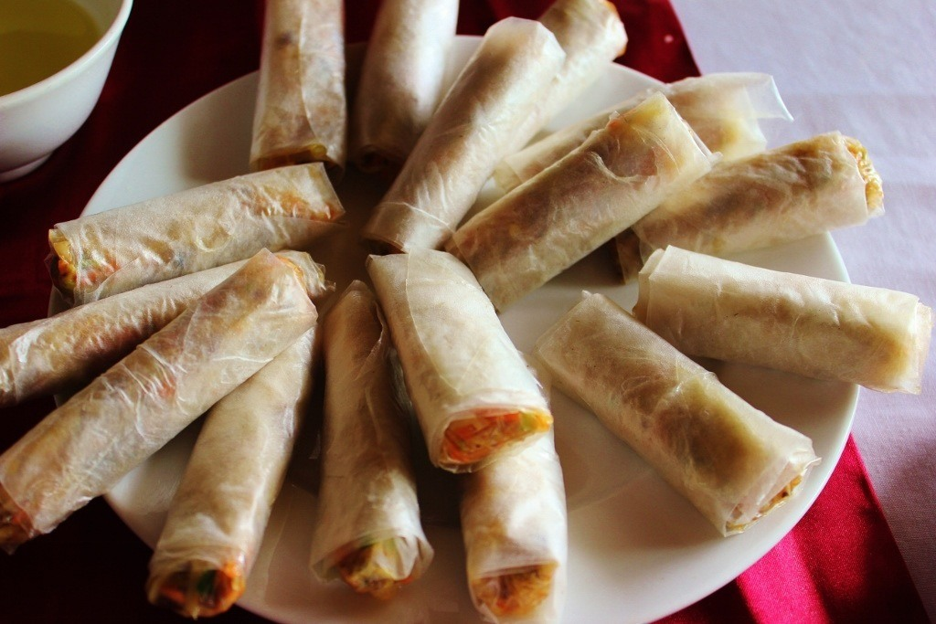 Cruising Halong Bay, Vietnam: Cooking demonstration - our Freshly wrapped spring rolls ready for frying
