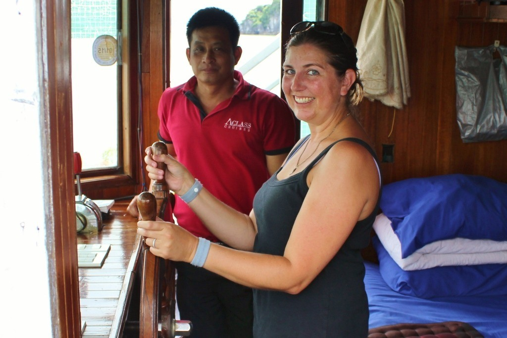 Cruising Halong Bay, Vietnam: Watch out Halong Bay! Sarah has the wheel!