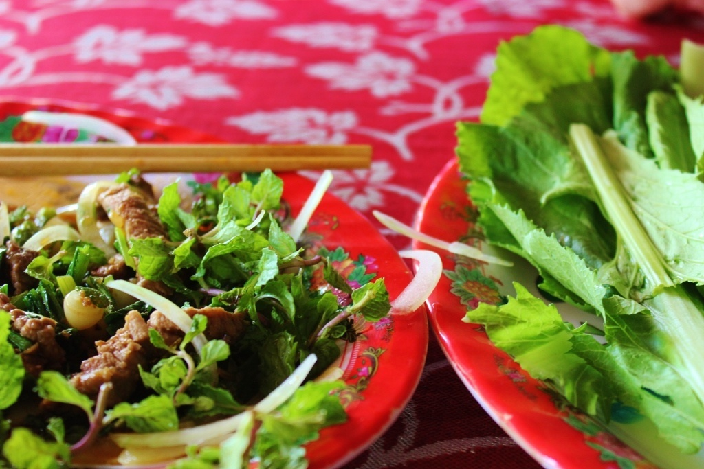 Local Hoi An, Vietnam: A local dish of beef, mint, and onion wrapped in fresh lettuce from a local restuarant