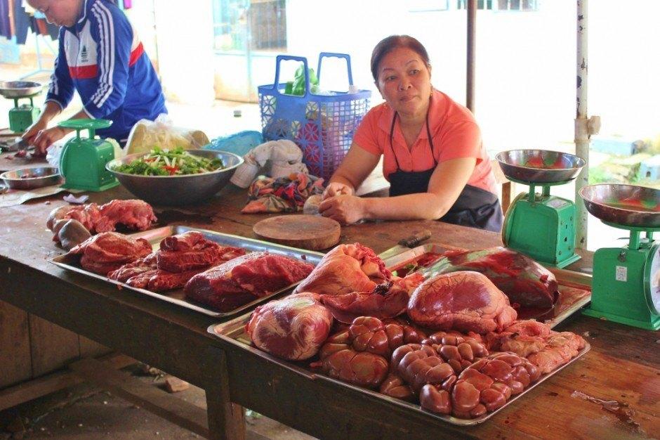 Beef vendor at local market in Vietnam Central Highlands