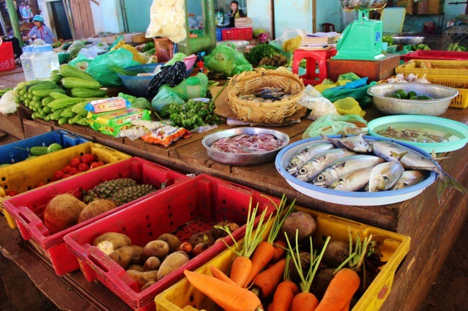 Local produce at market in Vietnam Central Highlands