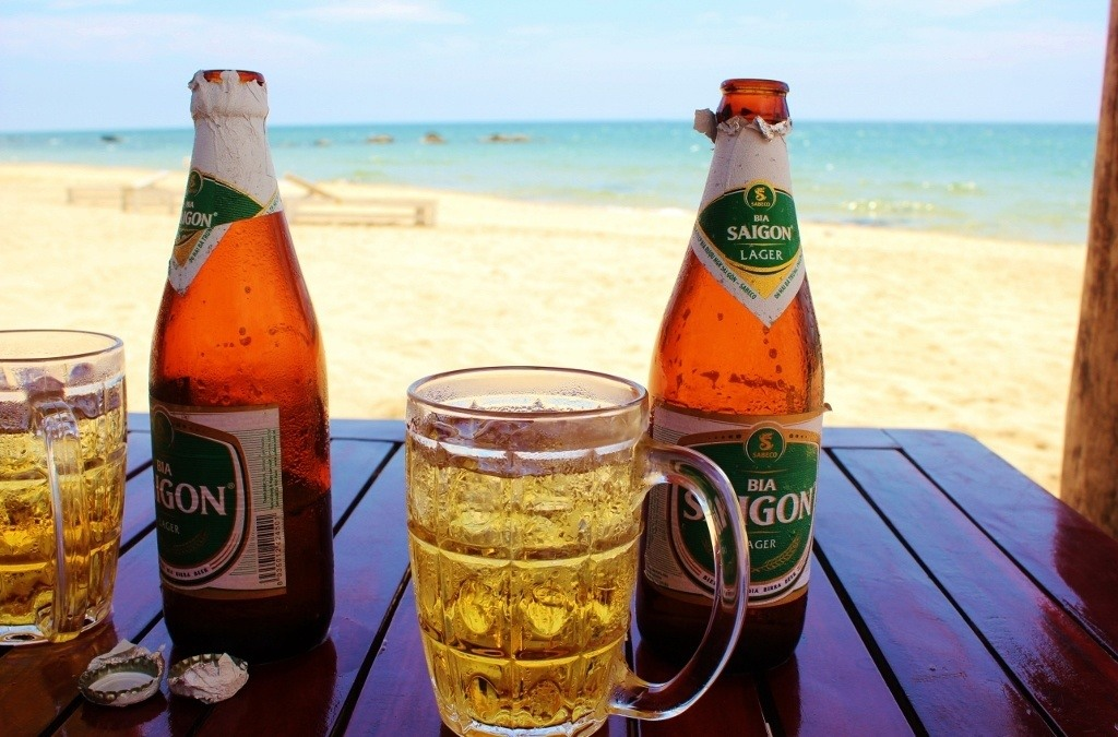 Bia Saigon Beers with a ocean view cost about $1 USD each on Phu Quoc, Vietnam
