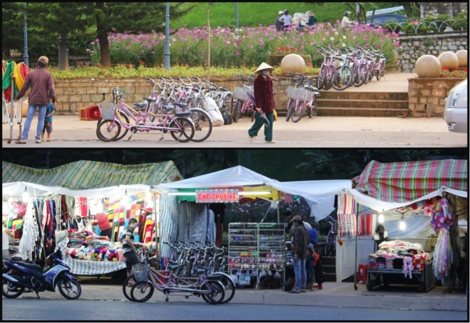 Sightseeing in Dalat, Vietnam: Before and after the market was set up, which only took about an hour