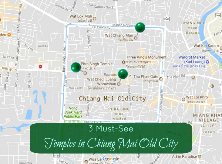 3 Must See Temples in Chiang Mai Old City Map JetSettingFools.com