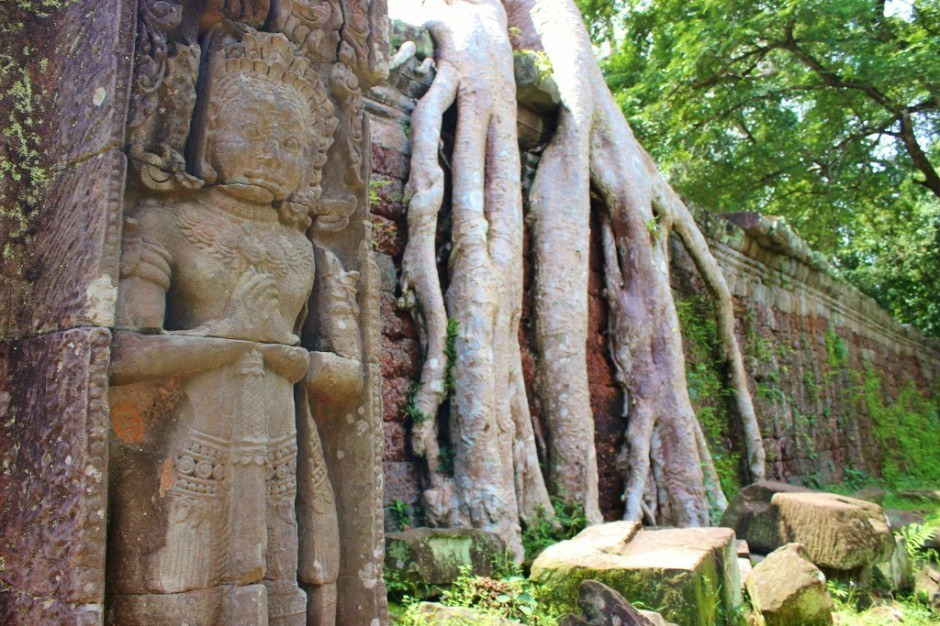 Angkor Temple Tour: Preah Khan - Detailed carvings have weathered time as nature is slowly taking over