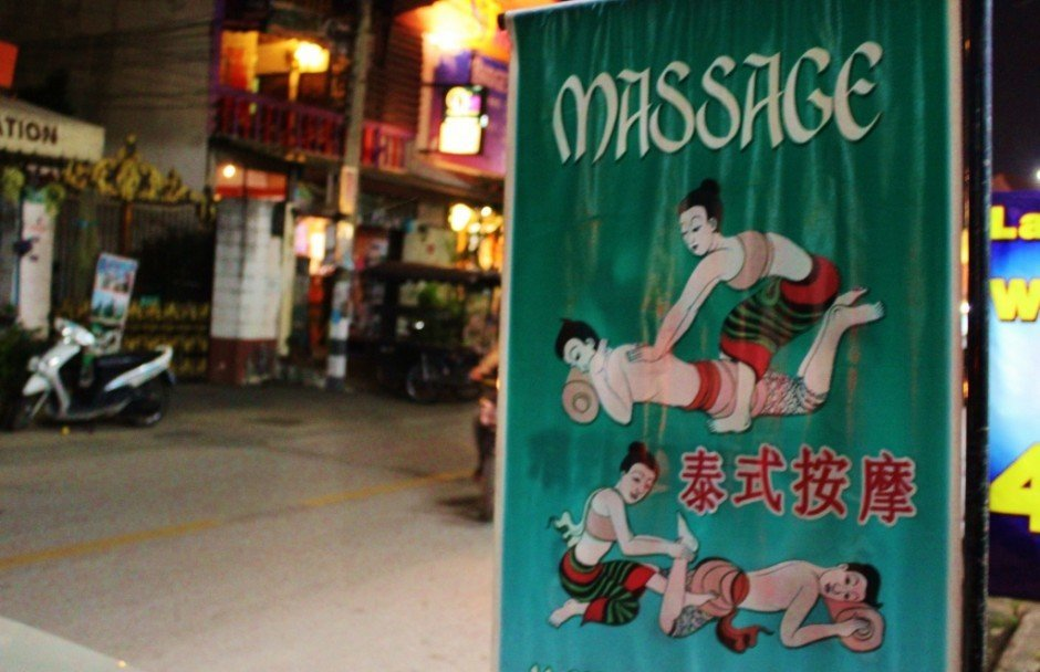 Signs advertise traditional Thai massages in Chiang Mai