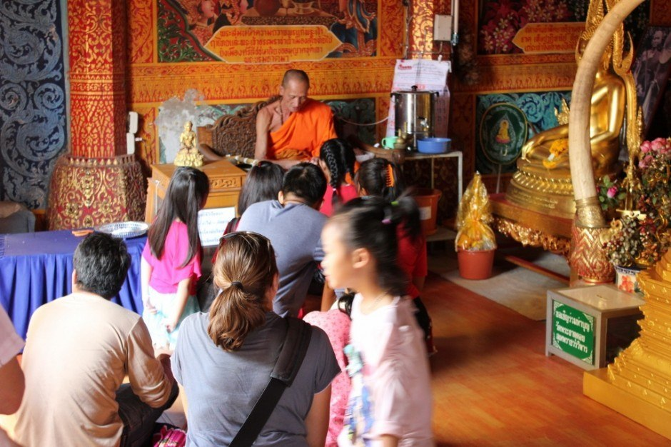 Visiting Chiang Mai temples: Doi Suthep Temple - Monk gives blessings
