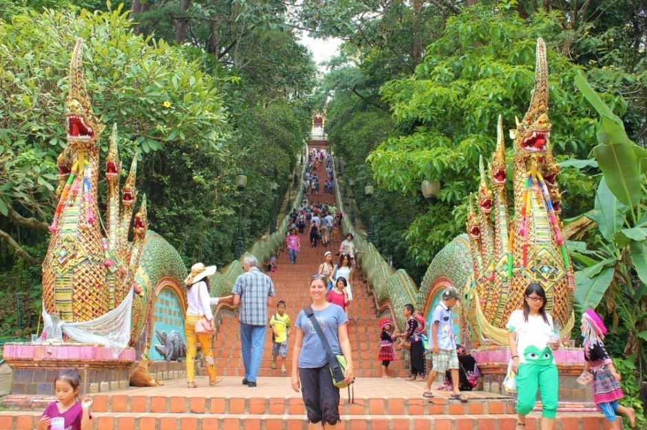 Visiting Chiang Mai temples: Doi Suthep Temple - stairs to the temple